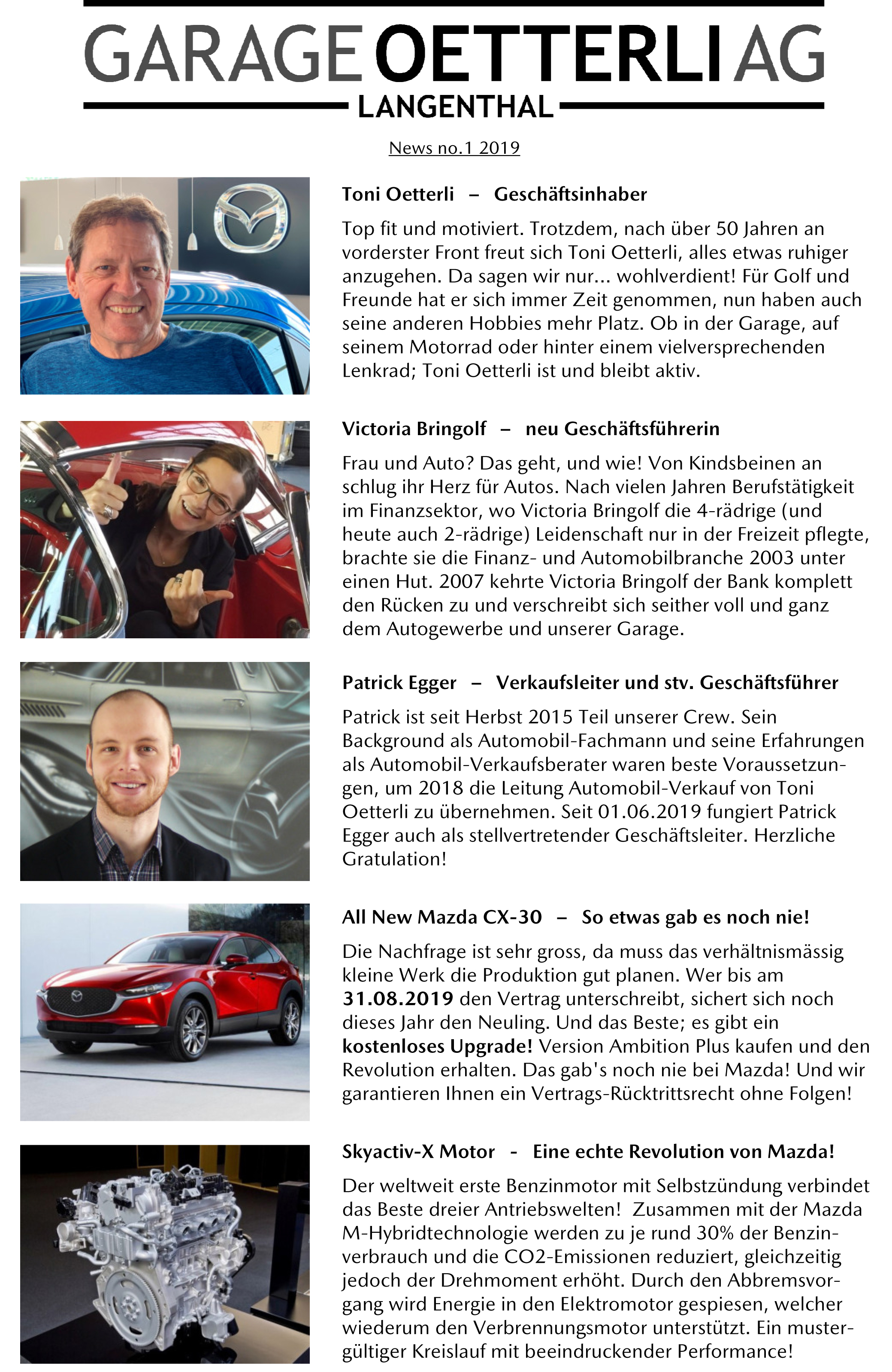 Garage Oetterli Newsletter No. 1 / 2019